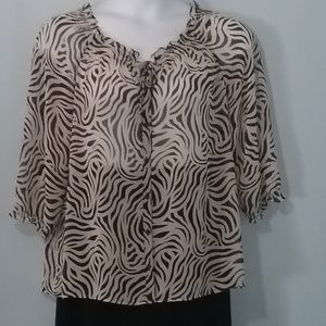 east 5th sheer zebra striped sexy blouse. Size XL